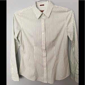 Talbots Green/White Pinstriped Top NWOT Size 4